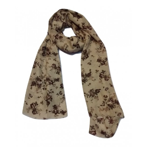 Floral Stole For Women (Brown Flowers and Granite Green base)