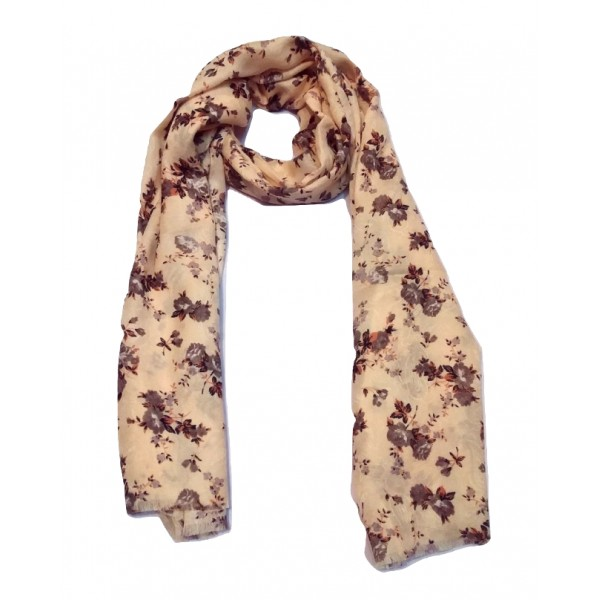Floral Stole For Women (wine berry flowers and Tan base)
