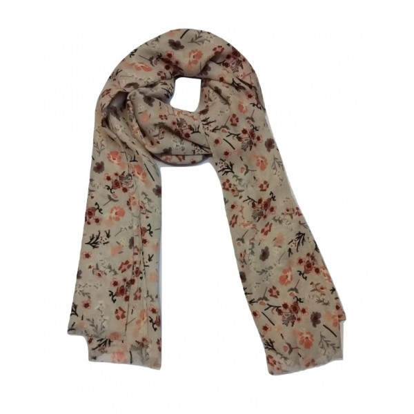 Floral Stole For Women (Roman Coffee base color)