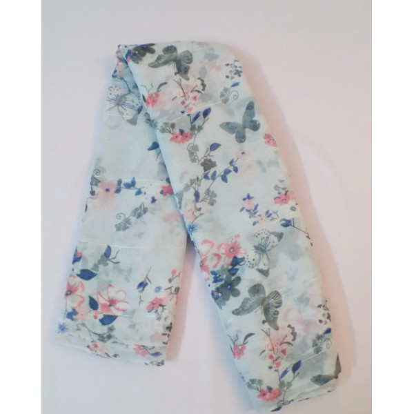 Butterfly & Floral Design Sequence work Scarf/Stole/Dupatta (Sky Blue)