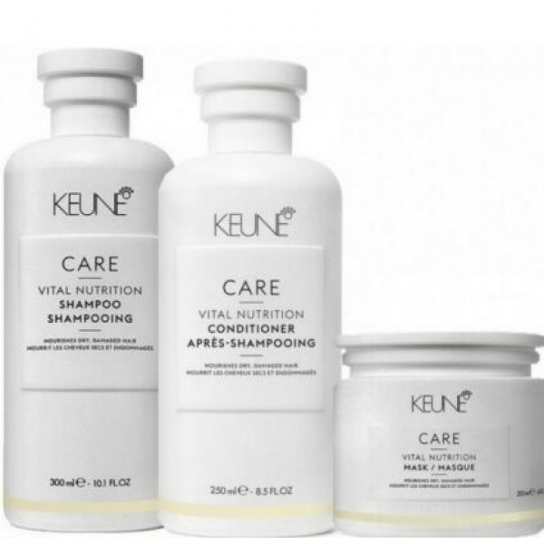 KEUNE Care Vital Nutrition Treatment with shampoo conditioner and hair mask