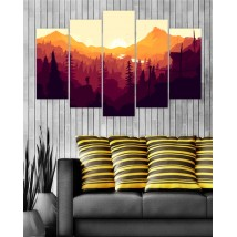 Wall Frames 5 Pieces set Canvas Digitally Printed - Sun Rise