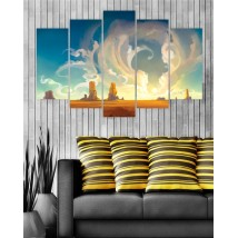 Wall Frames 5 Pieces set Canvas Digitally Printed Wall Canvas Frames - Clouds