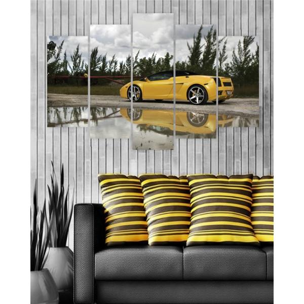 Wall Frames 5 Pieces set Canvas Digitally Printed Wall Canvas Frames - Lamborghini Shadow
