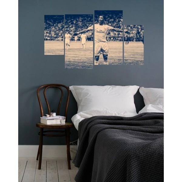 Canvas Wall Frames 4 Pcs Digitally Printed - Ronaldo The Football Star