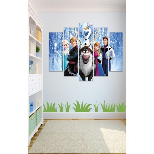 Wall Frames 5 Pieces set Canvas Digitally Printed Wall Canvas Frames - Frozen
