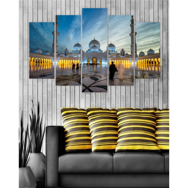 Wall Frames 5 Pieces set Canvas Digitally Printed Wall Canvas Frames - Shaikh Zayed Mosque
