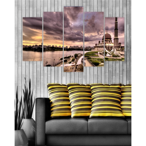 Wall Frames 5 Pieces set Canvas Digitally Printed Wall Canvas Frames - Mosque
