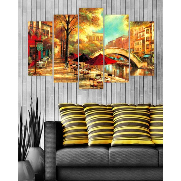 Wall Frames 5 Pieces set Canvas Digitally Printed Wall Canvas Frames - Artistic Painting