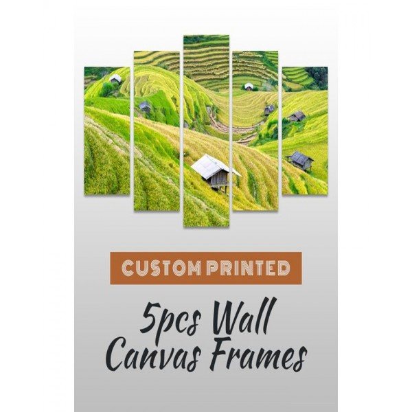 Wall Frames 5 Pieces set Canvas Digitally Printed Wall Canvas Frames - Landscape