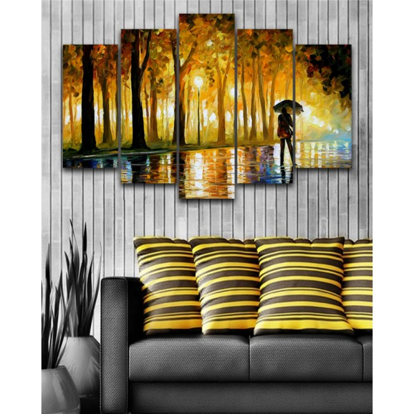 Wall Frames 5 Pieces set Canvas Digitally Printed Wall Canvas Frames - Raining Painting