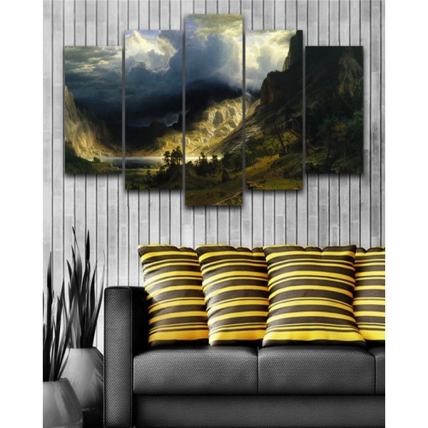Wall Frames 5 Pieces set Canvas Digitally Printed Wall Canvas Frames - Mountains Sunlight