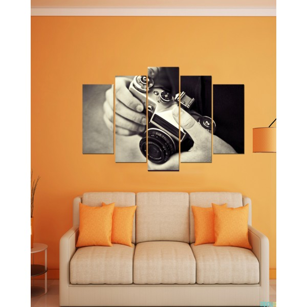 Wall Frames 5 Pieces set Canvas Digitally Printed Wall Canvas Frames - Camera 04