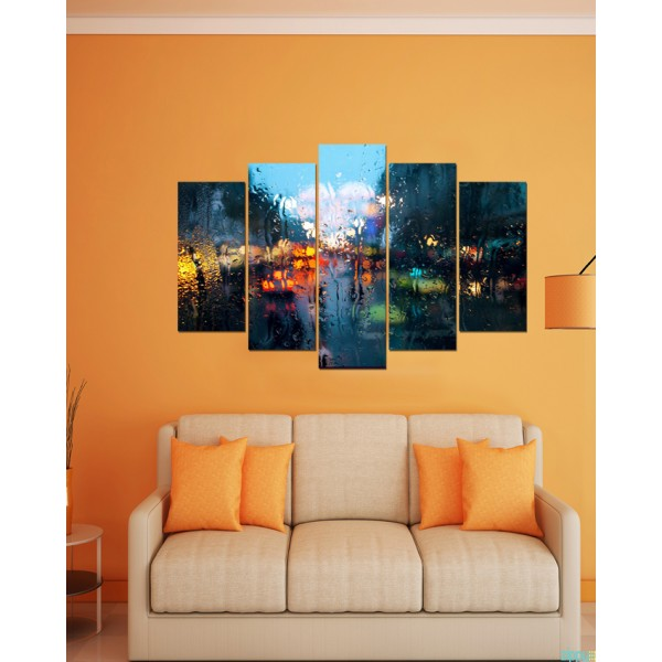 Wall Frames 5 Pieces set Canvas  Digitally Printed Wall Canvas Frames  Raining Window