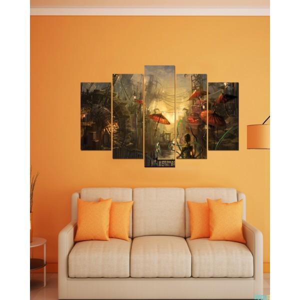 Wall Frames 5 Pieces set Canvas  Digitally Printed Wall Canvas Frames  Strom