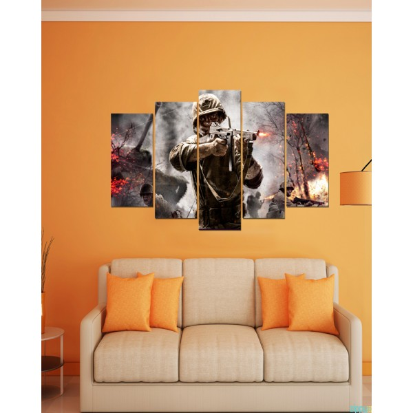 Wall Frames 5 Pieces set Canvas  Digitally Printed Wall Canvas Frames  Soldier 09