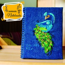 Notebook with Embroidered Peacock Zari work