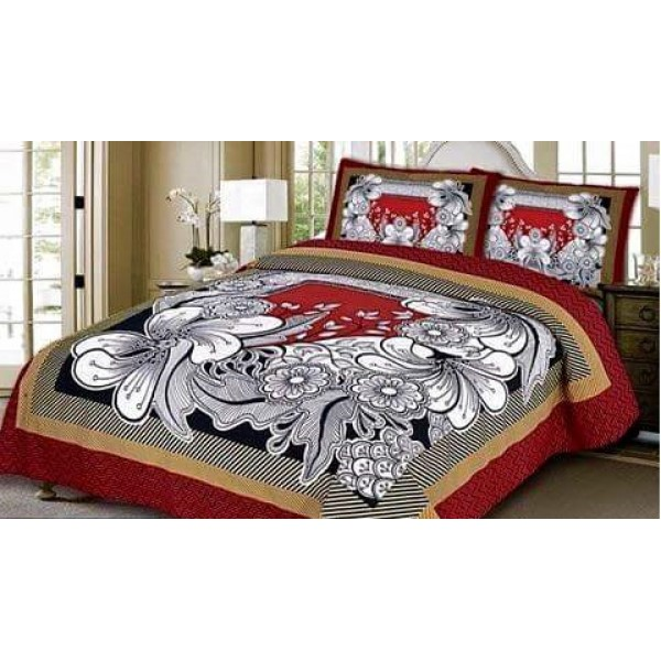 Multi color White Floral Cotton Bed sheet FB-1149