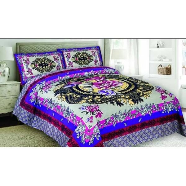 Multi color White Floral Cotton Bed sheet FB-1157
