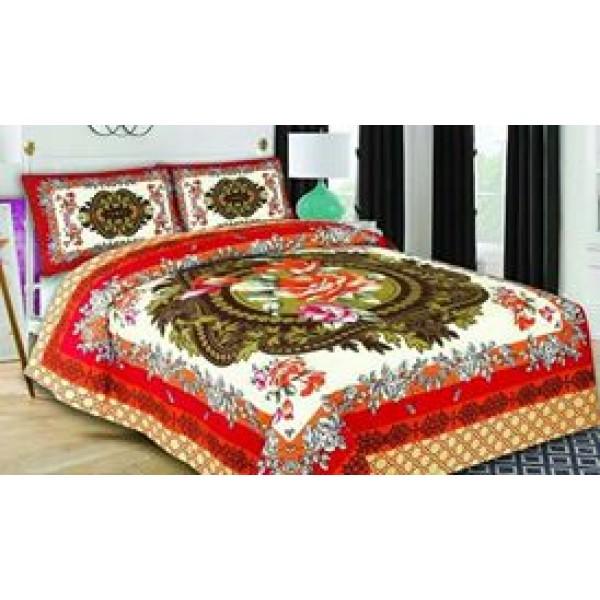 Multi color White Floral Cotton Bed sheet FB-1158