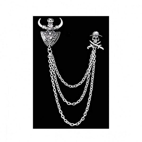 Get Online Skull Chain Pin Brooch