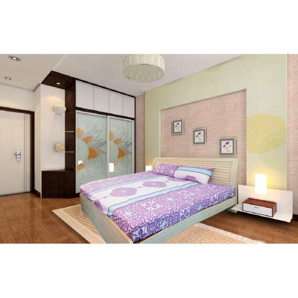 Victoria bedsheet in purple and white color