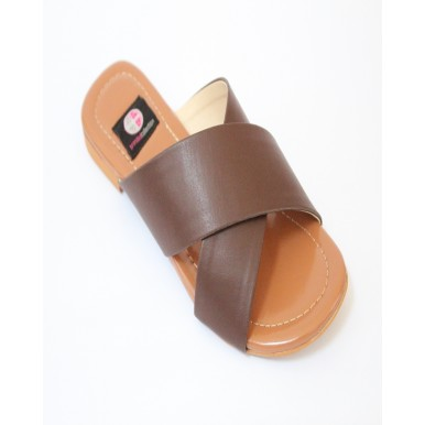 Brown  Leather Cross Strap Casual Chappal for Women