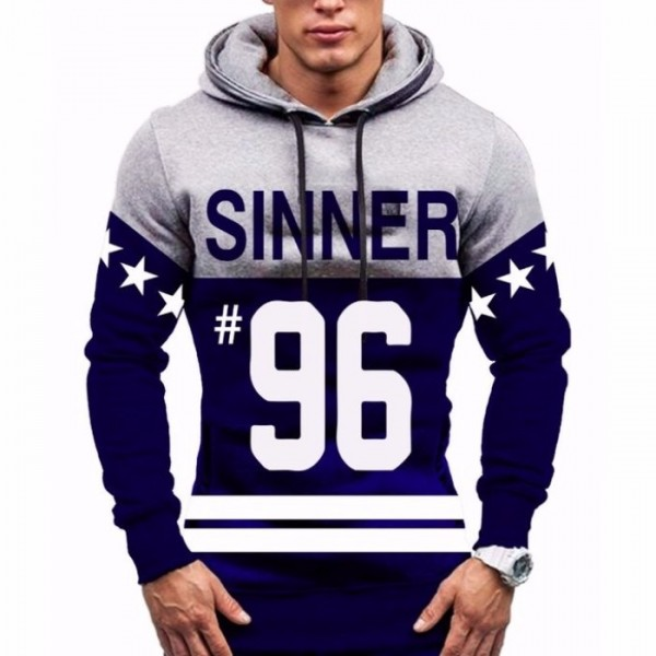 Grey and Blue - Printed Hoodie for Men