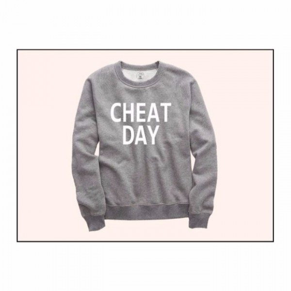Printed Sweatshirt Cheat Day In Grey