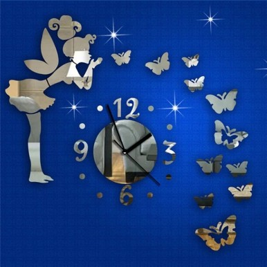 Wall Clock 29Pcs Set 3D Angel DIY Mirror Effect Wall Sticker