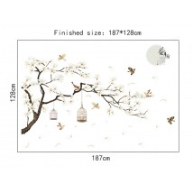 187x128cm Big Size Tree Birds Flower Home Decor Wallpapers for Living Room Bedroom DIY