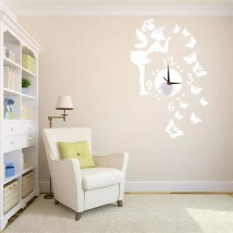 Wall Clock 29Pcs Set 3D Angel DIY Mirror Effect Wall Sticker
