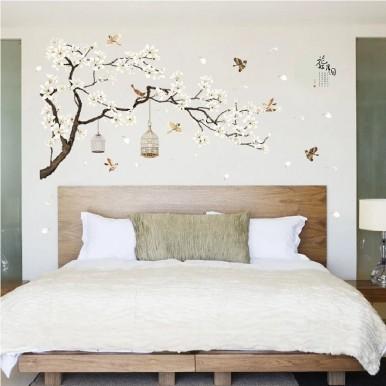 187x128cm Big Size Tree Birds Flower Home Decor Wallpapers for Living Room Bedroom DIY