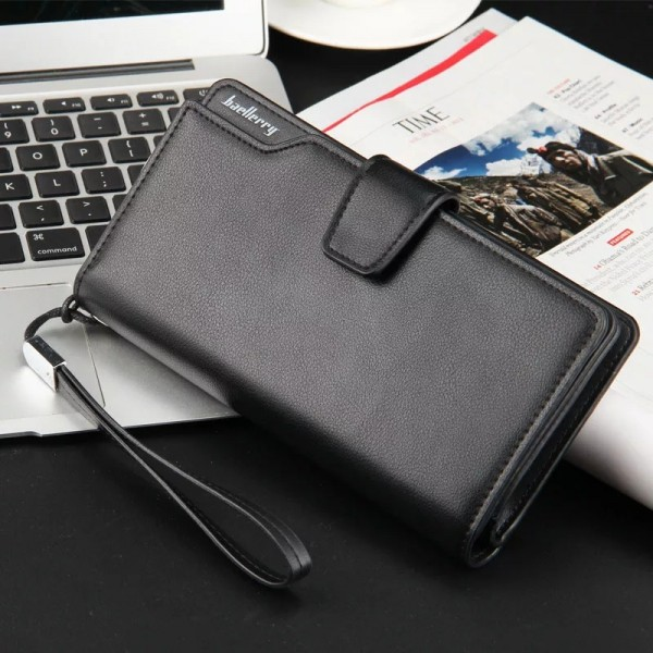 Baellerry Fashion Top Quality Men Long Leather Wallet Black