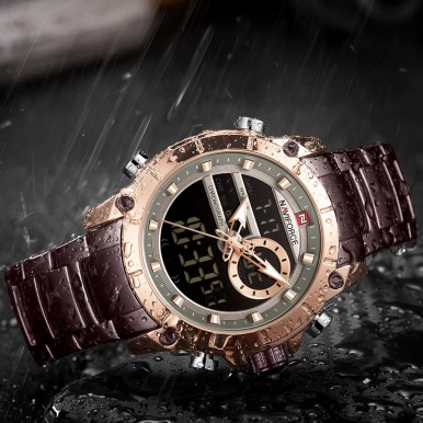 NAVIFORCE Top Luxury Brand Men's Sports Military Watch Full Steel Waterproof Quartz Digital Watch