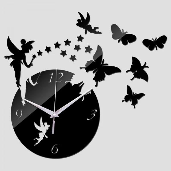 Butterfly Sun Acrylic Wall Clocks 3D Home Decor DIY Crystal Quartz Clock