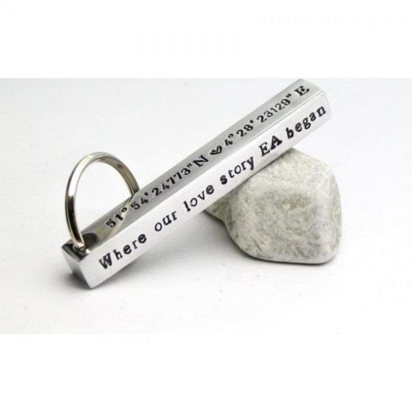 Customized Message Keychain in Silver Color
