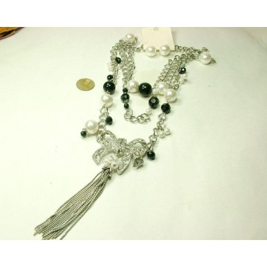 Pearl Bow Long Necklace and Earrings