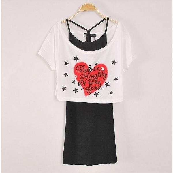 Two Piece Short body T-shirt