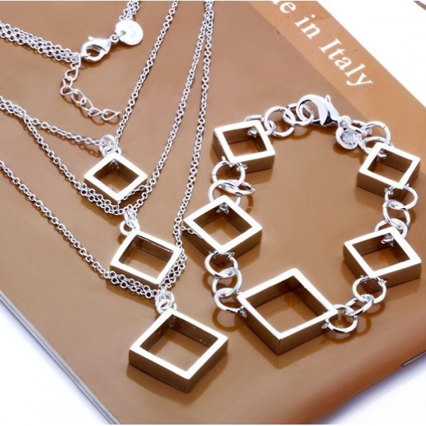 Silver Jewellery Set - 3 Layers Chain Necklace with Bracelet