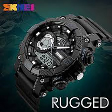 SKMEI 1228 Dual Display Multifunction Digital Quartz 50M Waterproof Chronograph LED Watch