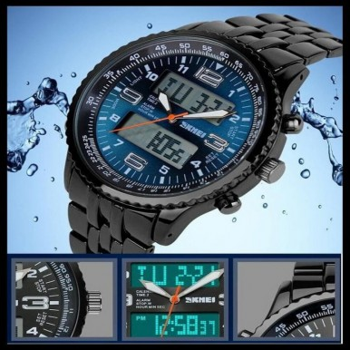 Skmei 1032 LED Watch Double Movt 3ATM Water Resistant Date Week Stopwatch Alarm – Blue