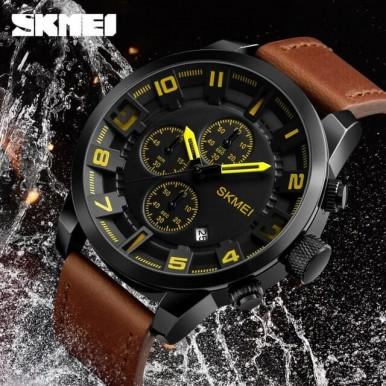 SKMEI 1309 Men Watch Fashion Leather Strap Three Smal Dials Stopwatch Male Quartz Wrist Watch