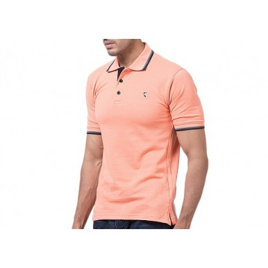 Peach Cotton Polo Shirt Imported