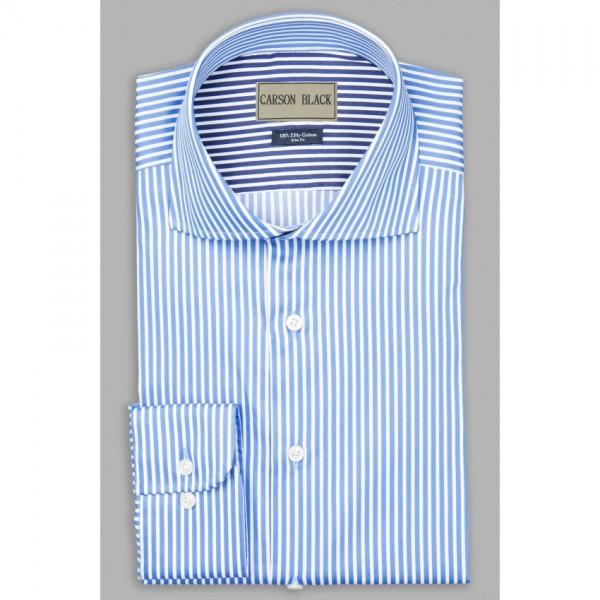 Blue Bar Stripe Shirt For Him A3