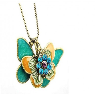 Flying Butterfly Long Necklace Pendant For Her