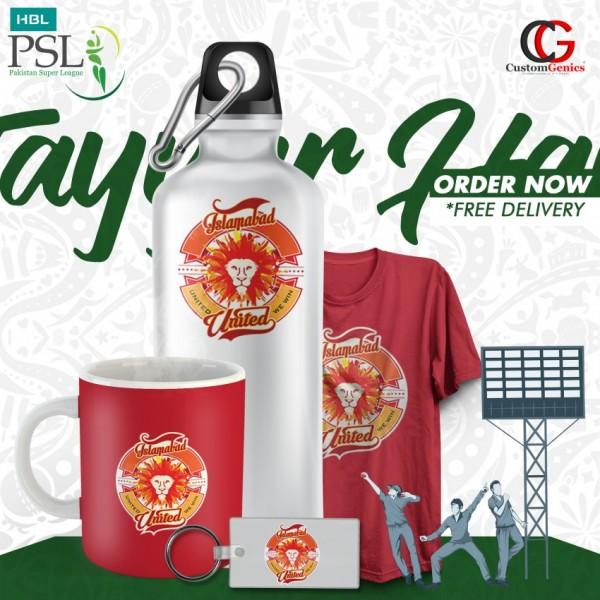 Islamabad United  PSL  Pack of Keychain bottle Tshirt Mug