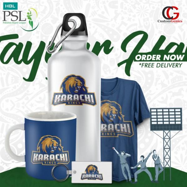 Karachi Kings PSL Pack Of Keychain Bottle Tshirt Mug