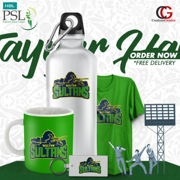 Multan Sultans PSL Pack Of Keychain Bottle Tshirt Mug