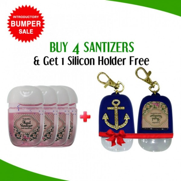 Buy 4 Hand Sanitizer Mini Cute Bottle Get 1 Slicon Holder Free In Blue By Karry and Kare